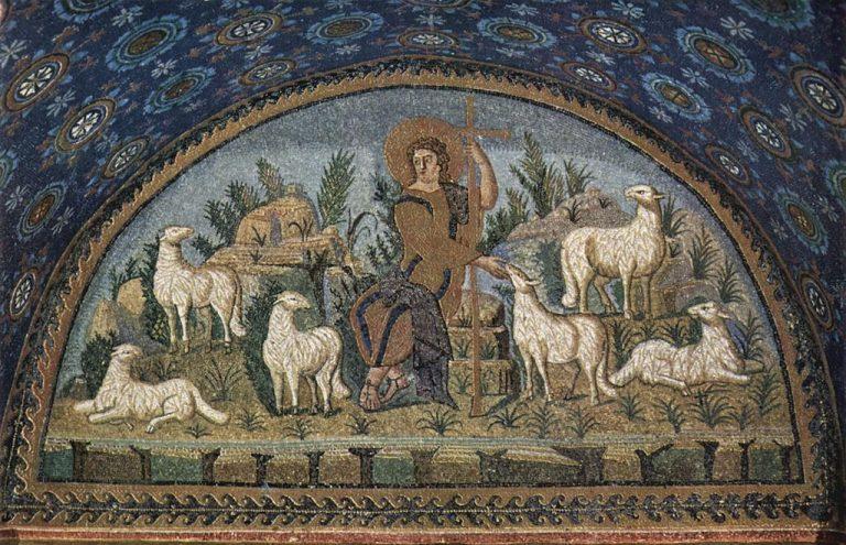 ガッラ・プラキディア廟堂(びょうどう)にあるモザイク画『よき羊飼い』