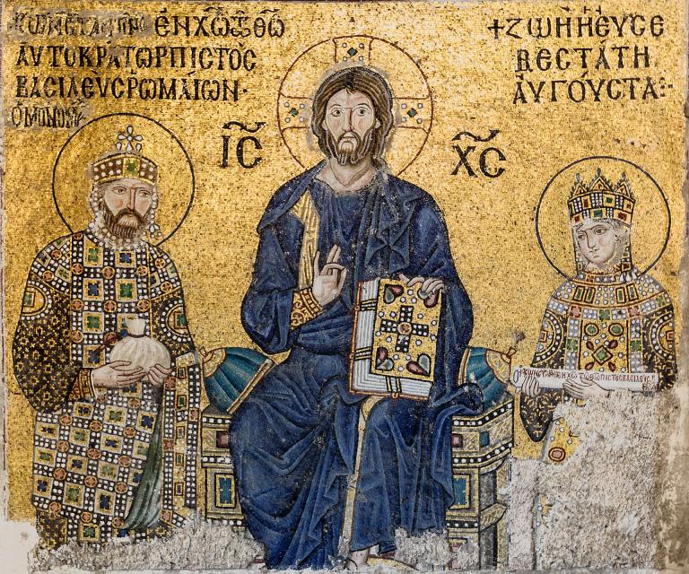 「キリストと11世紀の東ローマ皇帝コンスタンティノス9世夫妻」(モザイク画)