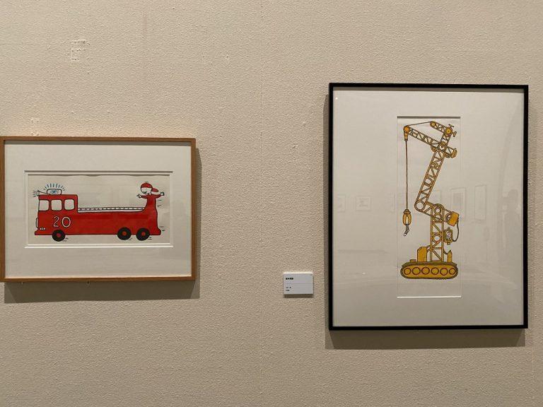 左:『マットくんのしょうぼうじどうしゃ』絵本原画 1998年 右:『マットくんのトラックトラック』絵本原画 1999年