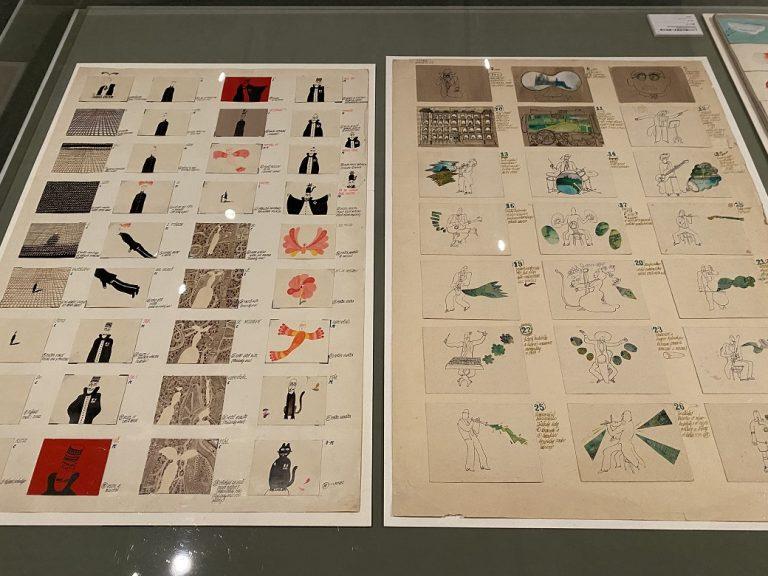 右:『プラハからこんにちは』 1970年頃 左:『ジャック・プレヴェール『自由地区』 1972〜73年 ともにアニメーションの絵コンテ 大学時代の課題として制作された『プラハからのこんにちは』には、当時シスが傾倒していたロックバンドの姿が多く描かれています。