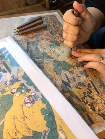 ドラえもん浮世絵『富嶽三十六景 東海道品川御殿山の不二』