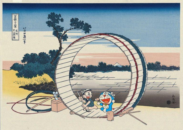 ドラえもん浮世絵シリーズの新作『富嶽三十六景 尾州不二見原』